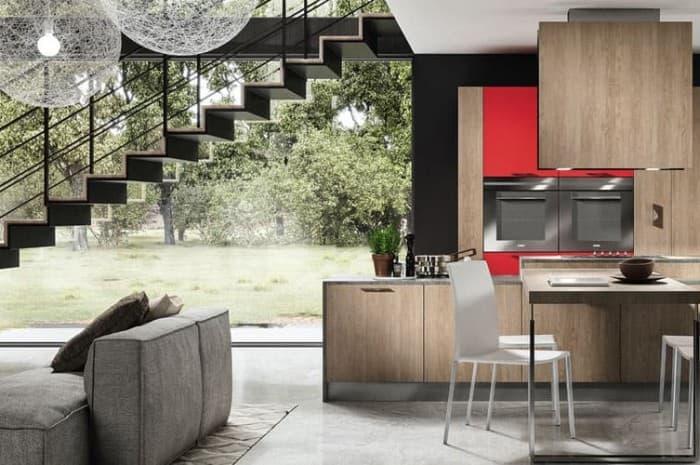 cucina-moderna-colore-marrone-e-inserti-rossi