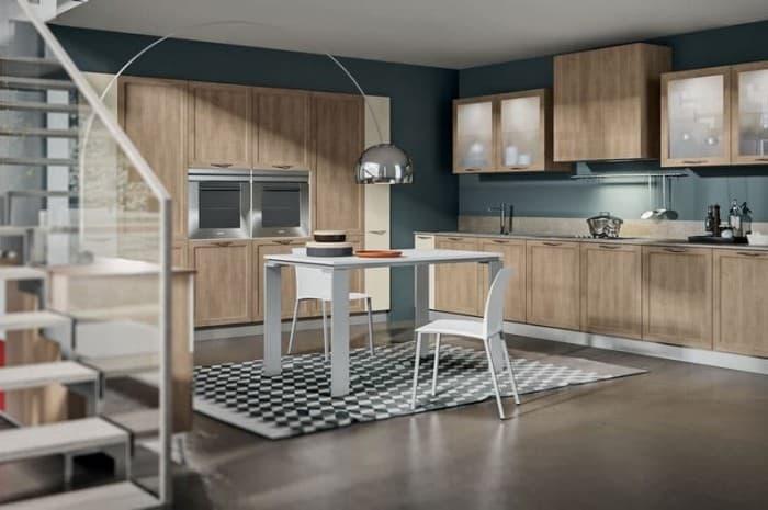 cucina-moderna-colore-marrone-e-tavola-centrale