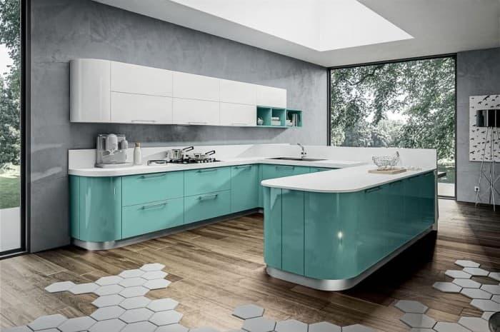 cucina-moderna-colore-verde-acqua