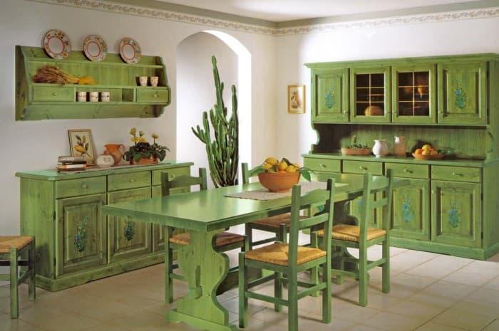 mobilia-stile-classico-colore-verde