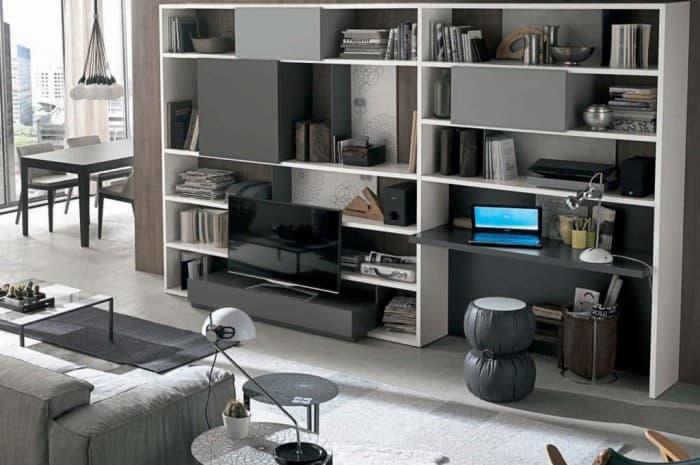 mobilia-soggiorno-scaffali-colore-bianco